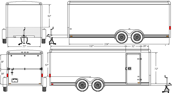 20footdrawing  Ft Enclosed Trailer Wiring Diagram For on